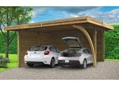 Carport en bois Autoclave NEUFCHATEAU 2 véhicules Solid S7758