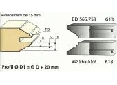 Jeu de 2 Couteaux Profilés - Profils Doucine Rustique - Ref BD565559 - Le Ravageur