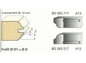 Jeu de 2 Couteaux Profilés Doucine - 9 mm - Ref BD565517 - Le Ravageur