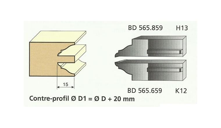 Jeu de 2 Couteaux Profilés Doucine Rustique - Ref BD565659 - Le Ravageur