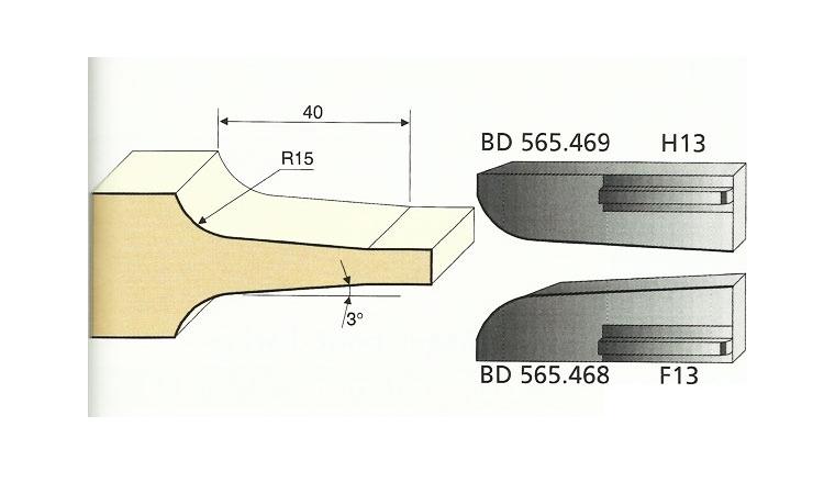 Jeu de 2 Couteaux Congé à pente - 15 mm - Ref BD565468 - Le Ravageur