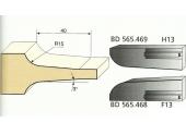 Jeu de 2 Couteaux Congé à Pente - 15 mm - Ref BD565469 - Le Ravageur