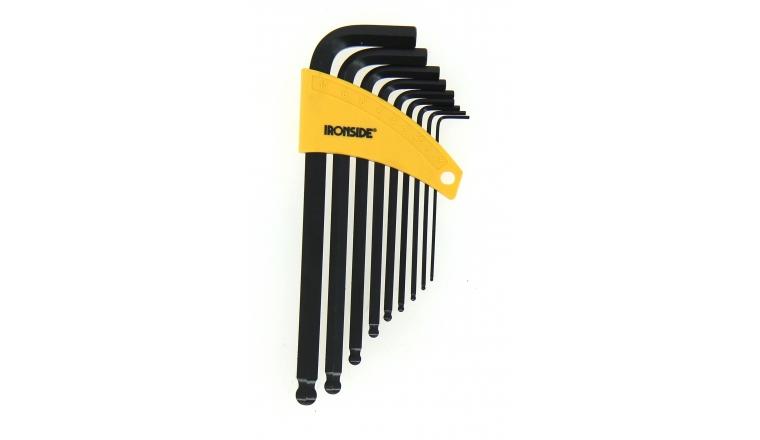 Assortiment de 9 clés mâle 6 pans à bout rond - 1.5 à 10 mm - Ref 114008 - Ironside