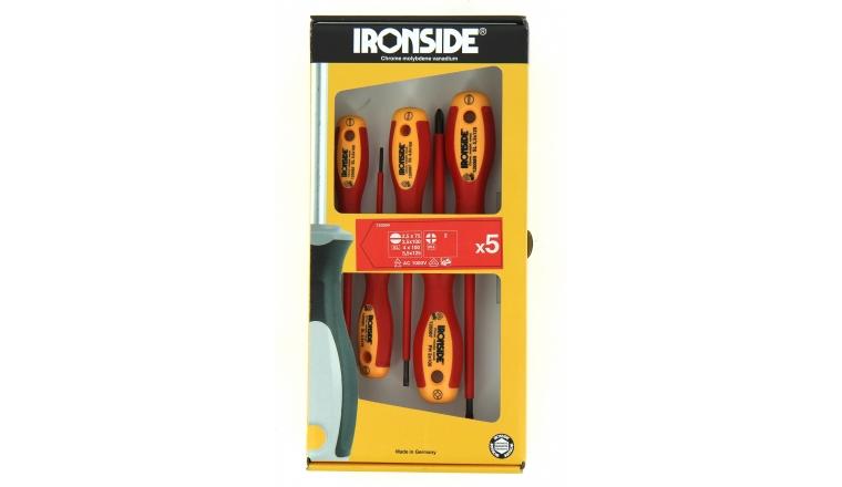 Coffret de 5 Tournevis Isolés Plat et Cruciforme - Ref 120504 - Ironside