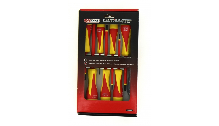 Coffret de 8 tournevis Isolés plat et cruciforme - Ref 922.6218 - KS Tools