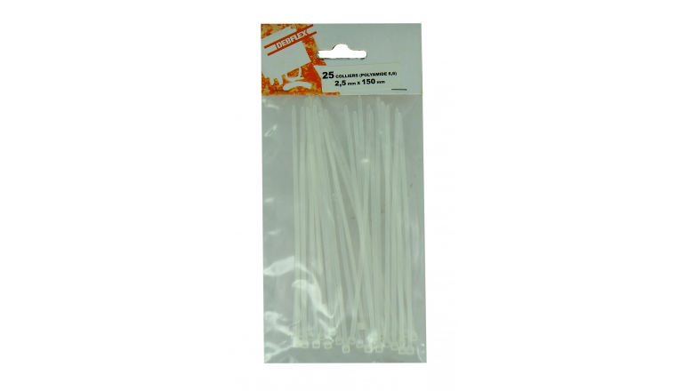 Lot de 25 Colliers Rilsan Transparent - Largeur 2.5 mm - Longueur 100 ou 150 mm - Debflex
