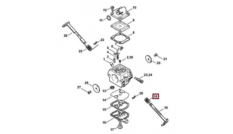 Ressort de Rappel de Carburateur pour Machine Thermique Stihl - Ref 1123-122-3000