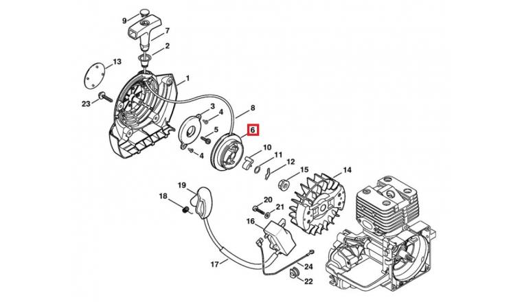 Poulie de Lanceur pour Machine thermique BT 120, FC 55, FS 111 ... Stihl - Ref 4128-195-0400