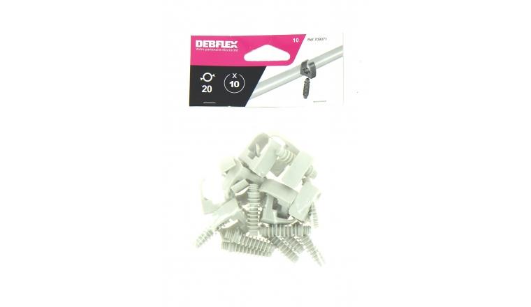 Lot de 10 Clips + Chevilles pour Tube IRL Ø 20 mm - Debflex 709071