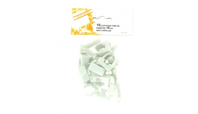 Lot de 10 Clips + Chevilles pour Tube IRL Ø 16 mm - Debflex 709070