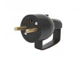 Fiche électrique mâle avec anneau 2P+T 250V 16 A Noire - Debflex 713160