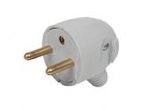 Fiche électrique Mâle 2P+T Grise 250V 16A Sortie latérale - Debflex 713360