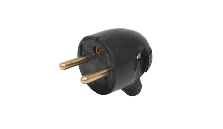 Fiche électrique Mâle 2P+T 16A 250V Sortie Latérale Noire - Debflex 713350