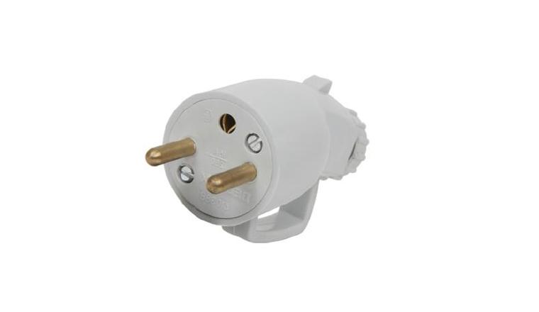 Fiche électrique Mâle avec Anneau 2P+T 250V 16A Grise - Debflex 713780