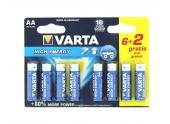 Pile  LR6 (AA) High Energy 1.5 V - Lot de 6 + 2 Gratuites  - Varta