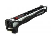 Bloc 5 Prises 2 P+T Aluminium et Noir Avec Interrupteur et Protection surtension