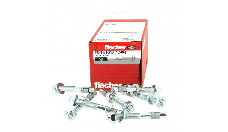 Goujons d\'Ancrage FBN II Ø 10 x 86 mm  Acier Electrozingué - Boîte de 50 -  Fischer