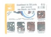Coffret de 200 joints fibres et Caoutchouc 12 x 17, 15 x 21, 20 x 27, 26 x 34 et 33 x 42