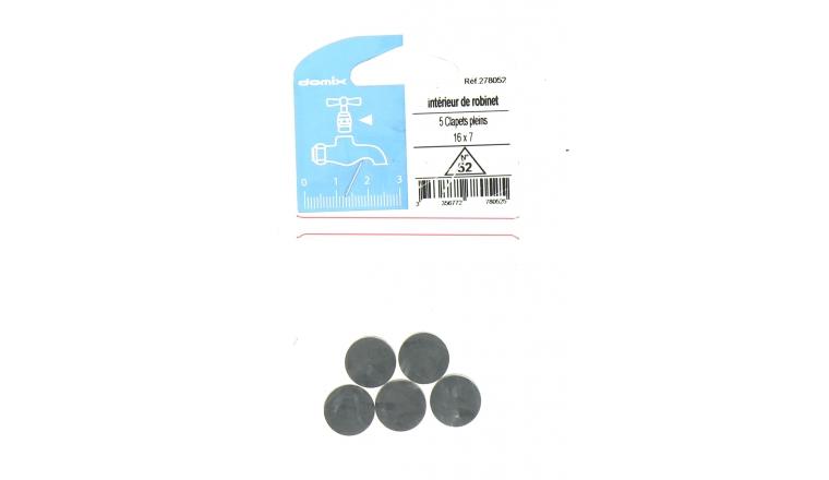 Lot de 5 Clapets Pleins pour Robinet 16 x 7 mm