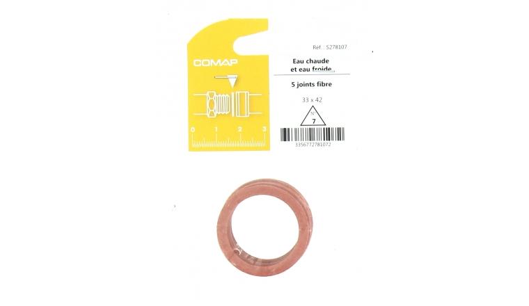 Joint Fibre pour Installation sanitaire 33 x 42 - Lot de 5 - Eau froide et Eau chaude