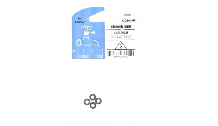 Lot de 5 Joints Toriques N° 2 pour Robinet 3.4 x 7.2 x 1.9 mm