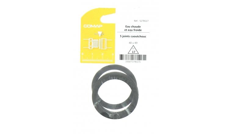Joint caoutchouc pour Installation sanitaire 40 x 49 - Lot de 5 - Eau froide et Eau chaude