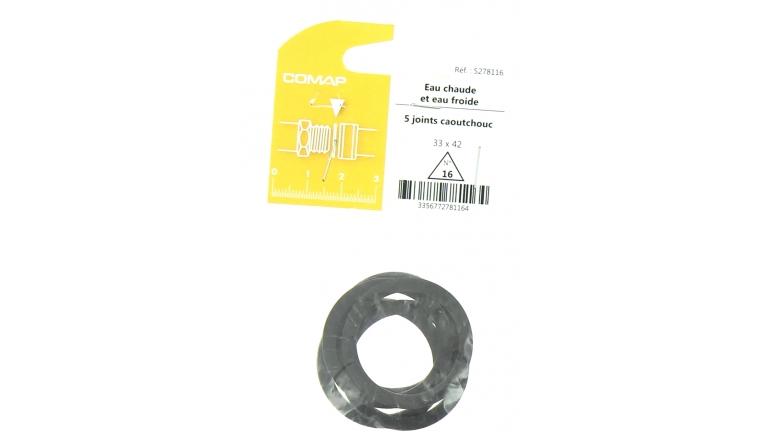 Joint caoutchouc pour Installation sanitaire 33 x 42 - Lot de 5 - Eau froide et Eau chaude