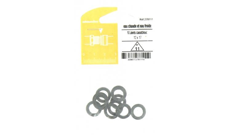 Joint caoutchouc pour Installation sanitaire 12 x 17 - Lot de 10 - Eau froide et Eau chaude