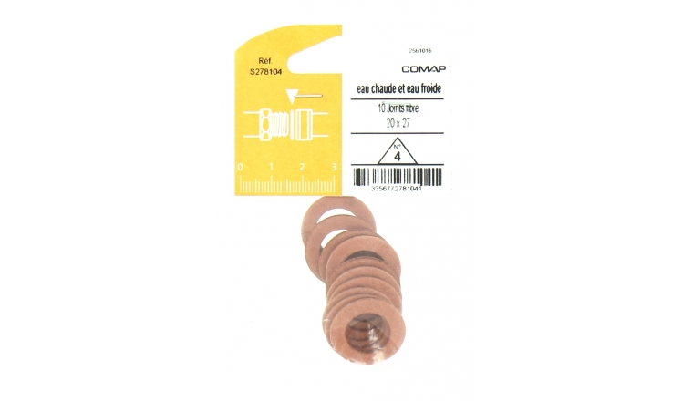 Joint Fibre pour Installation sanitaire 20 x 27 - Lot de 10 - Eau froide et Eau chaude
