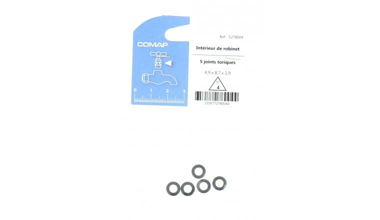 Lot de 5 Joints Toriques N° 4 pour Robinet 4.9 x 8.7 x 1.9 mm