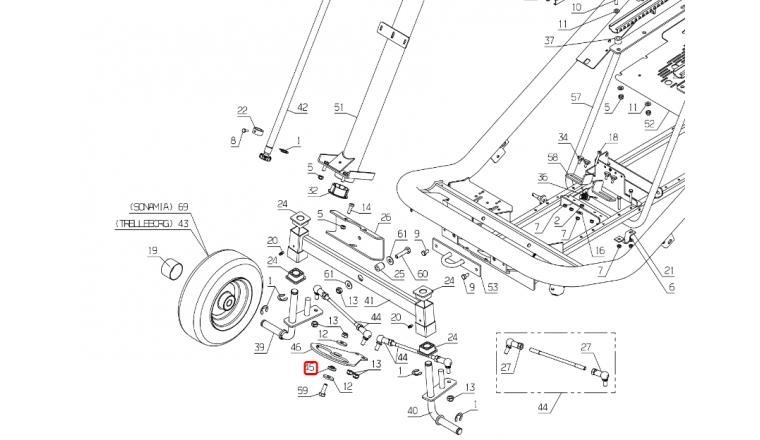Entretoise de couronne de direction Autoportée A80 - Ref 28608 - Outils Wolf