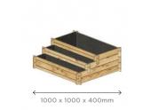 Carré potager en escalier 1000x1000 mm en Pin S7289 - Solid