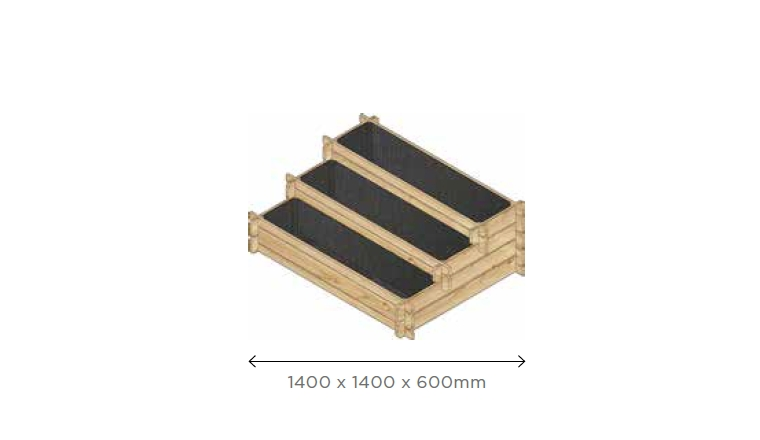 Carré Potager en Escalier 1400x1400 mm en Pin S7278 - Solid