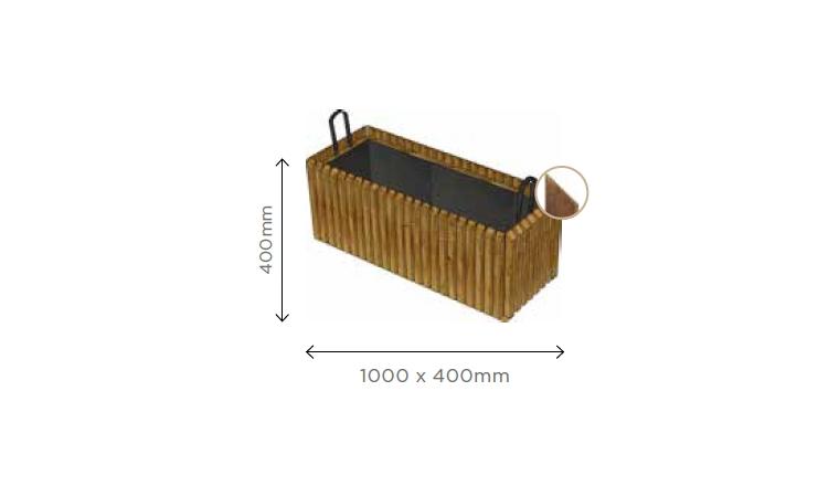Bac à Fleur Rectangulaire Barcelona 1000x400x400 mm en Pin S7259 - Solid