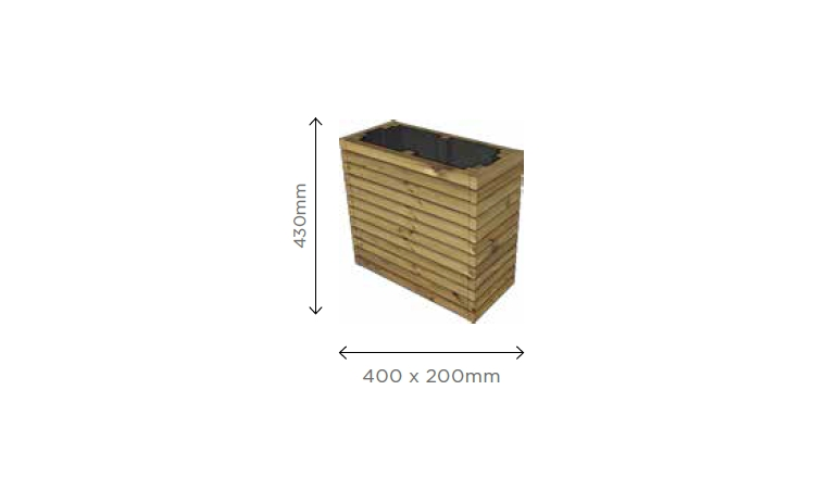 Bac à Fleur rectangulaire Barcelona 400x200x430mm S7293 - Solid