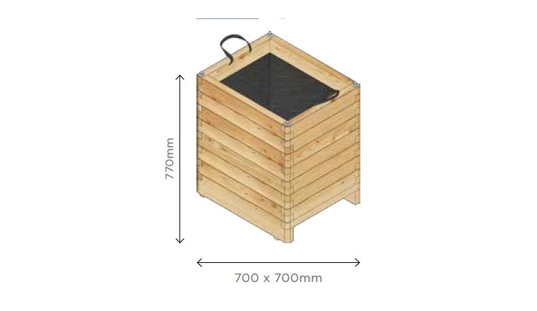 Bac à Fleur Carré Robust 700x700x770 mm en Pin S7232 - Solid