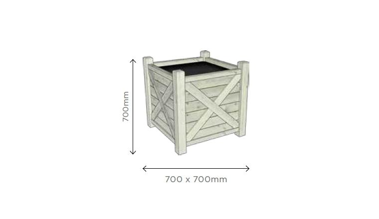 Bac à Fleur Carré 700x700x700 mm en pin Blanc S7298 - Solid