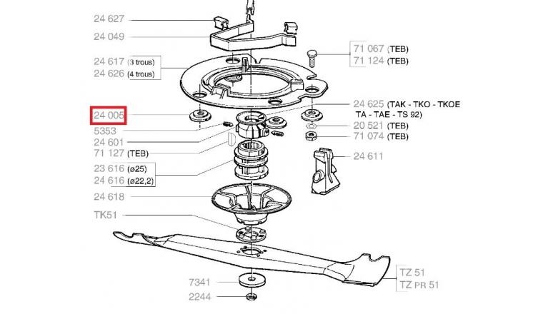 Rondelle moteur pour tondeuse thermique - Ref 24005 - Outils Wolf