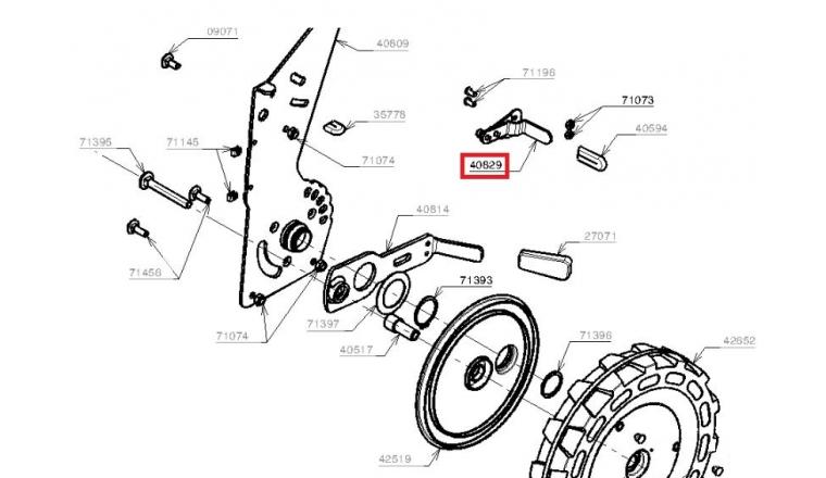 Réglage hauteur de coupe Tondeuse RT53K, RT53KS et RT53X - Ref 40829 - Outils Wolf