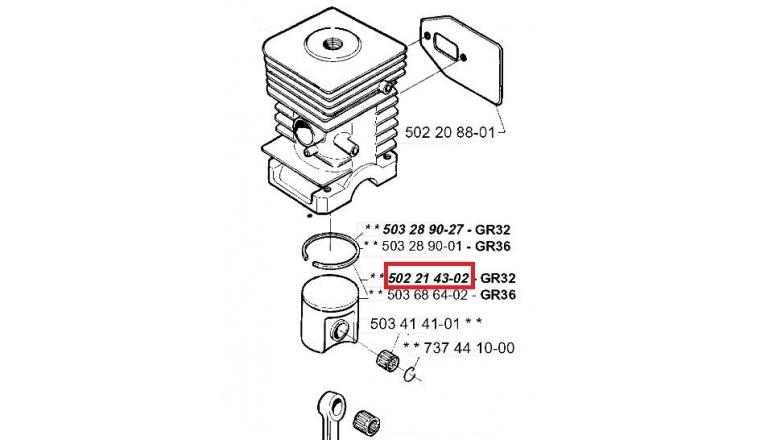 Piston complet pour débroussailleuse GR36, GR32, 235R ... - Ref 502 21 43-02 - Husqvarna