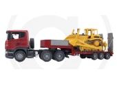 Camion Scania porte engin Remorque abaissé et Bulldozer CATERPILLAR - Bruder 3555