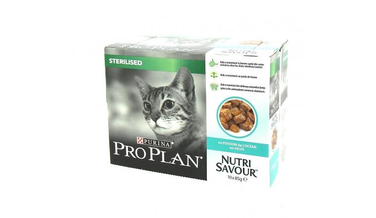 Sachets en Gelée Chat Stérilisé Nutrisavour Poisson Pro Plan - 10x85gr - Nestlé Purina