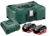 Set 2 batteries Metabo 18V/8,0 Ah + chargeur ASC Ultra +coffret MetaLoc
