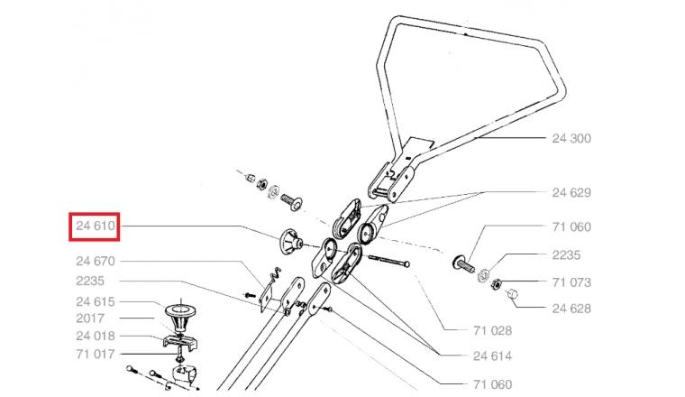 Bouton de fixation pour tondeuse et autoportée Wolf - Ref 24610 - Outils Wolf