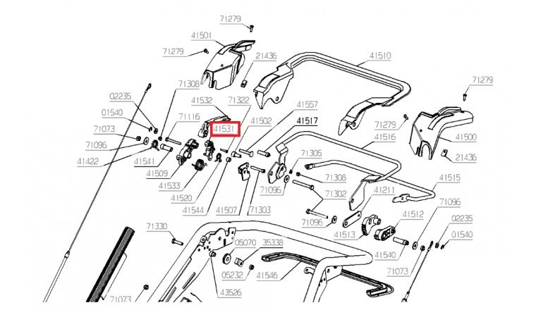 Crochet de Maintien de guidon pour Tondeuse RM53H, NTFK1/98 ... - Ref 41531 - Outils Wolf