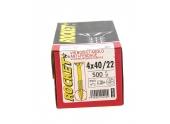 Boîte de 500 Vis à tête fraisée Pozidriv Filetage Partiel Ø 4 x 40  mm ROCKET