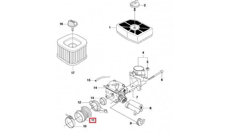 Tuyau d\'aspiration Carburateur pour Tronçonneuse 390 XP, CS2188 - Ref 537 11 14 02 - Husqvarna