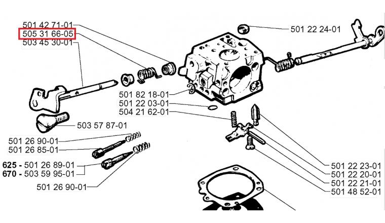 Ressort de torsion arbre de régulation Carburateur pour 272 XP, 268 ... - Ref 202 31 66 05 - Husqvarna