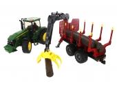 Tracteur forestier John Deere 7930 avec remorque forestière Bruder