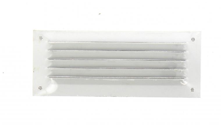 Grille métal 190x75mm avec moustiquaire finition blanc DMO